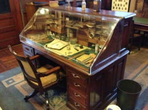 Edison's desk in his private library, which was locked on the day he died in 1931, and not reopened until 1947, by his son Charles.