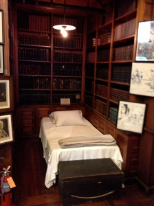 A cot in Edison's private Library, where he would sleep for a few hours at time when necessary.  He rarely slept through the night, and 95 hour work weeks were not unusual for him.